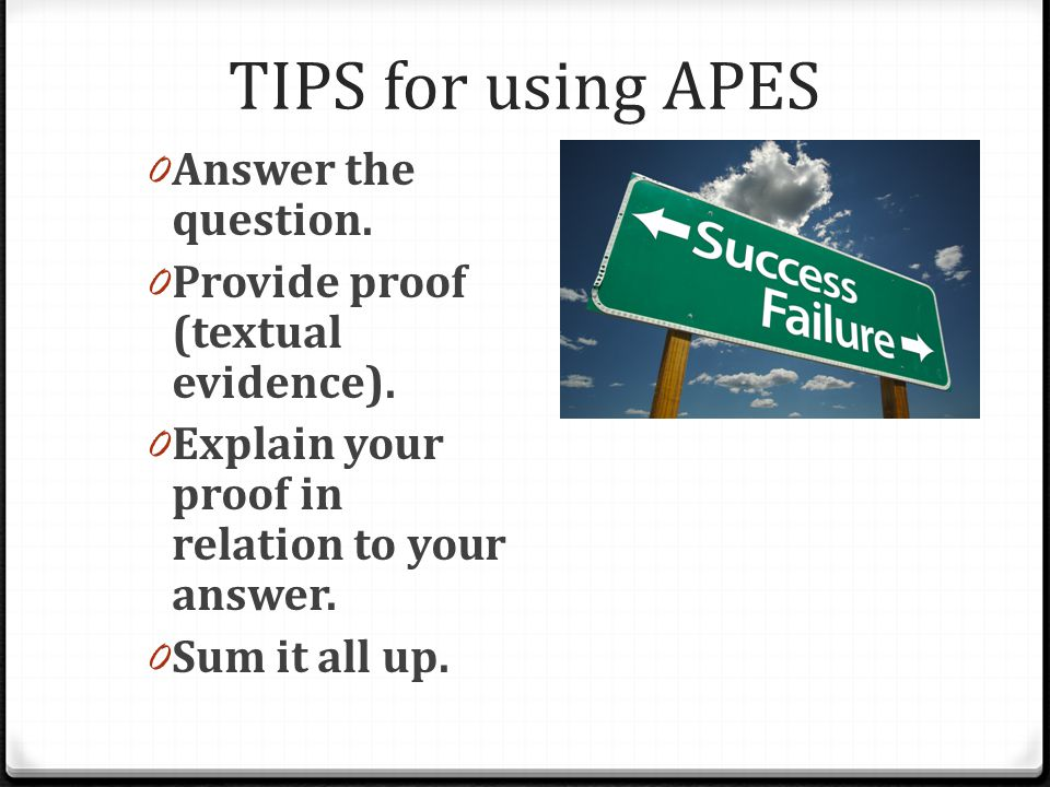 TIPS for using APES Answer the question.