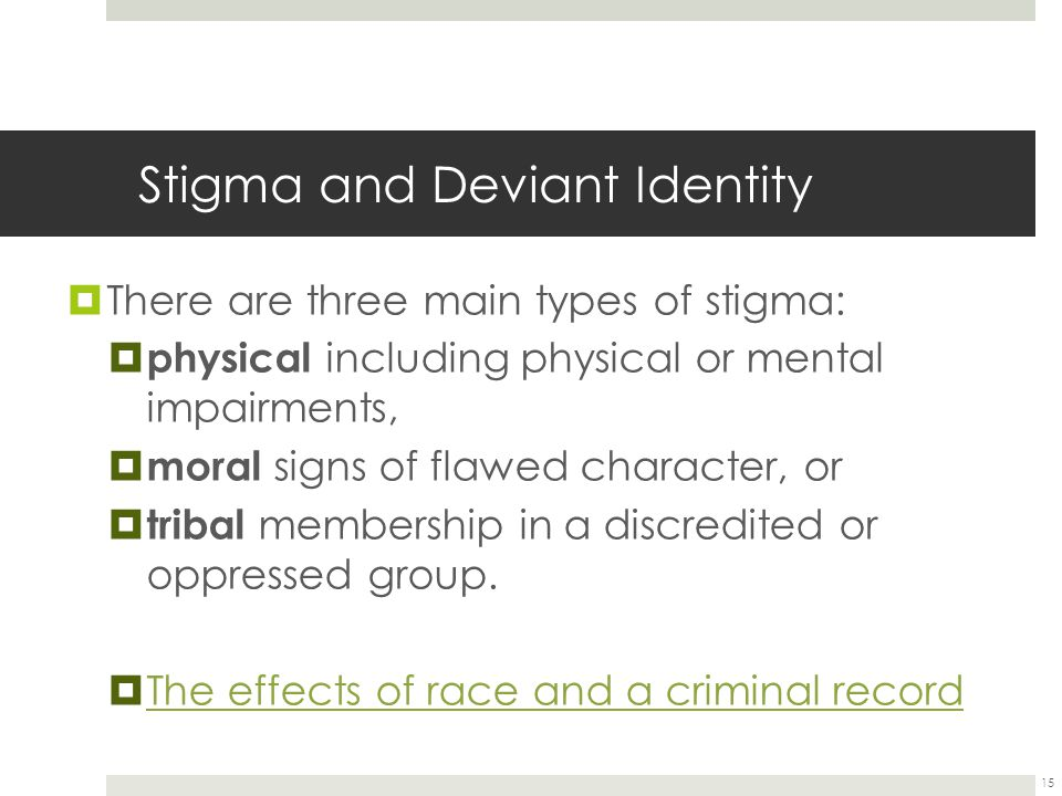 Stigma and Deviant Identity