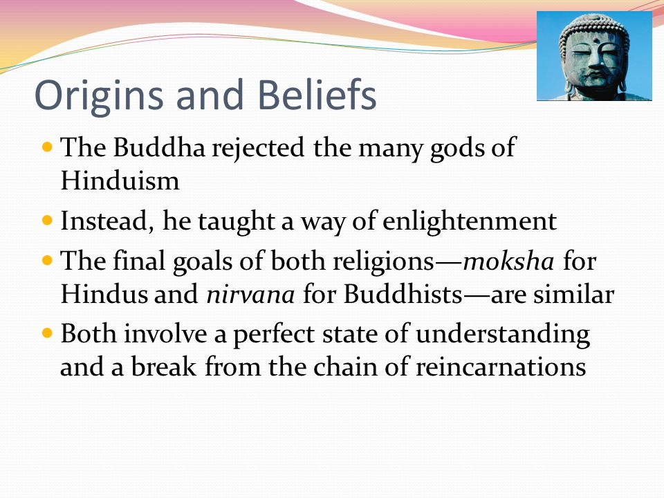 Origins and Beliefs The Buddha rejected the many gods of Hinduism