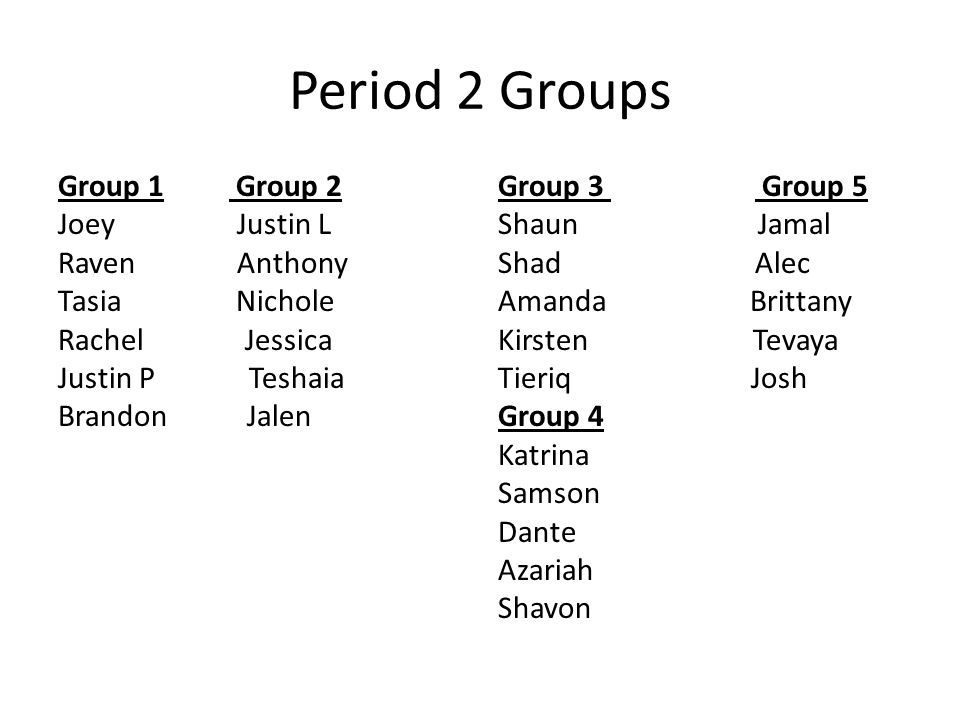 Period 2 Groups Group 1 Group 2 Joey Justin L Raven Anthony Tasia Nichole Rachel Jessica Justin P Teshaia Brandon Jalen
