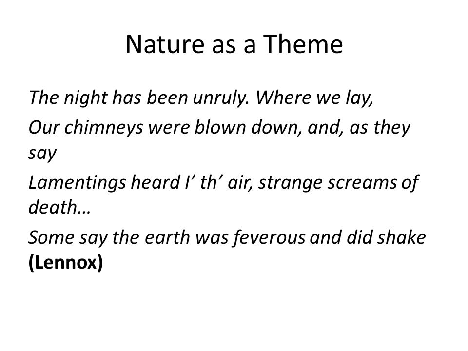 Nature as a Theme