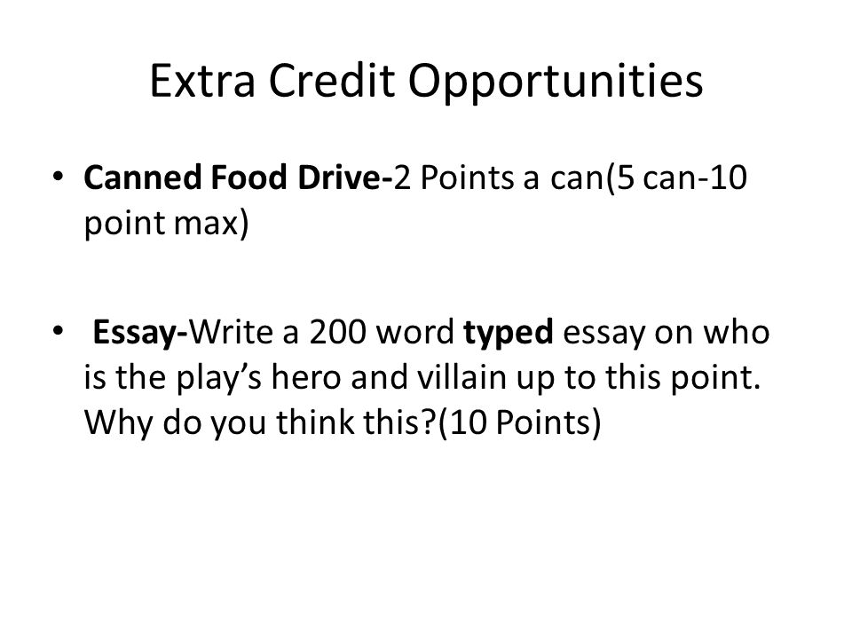 Extra Credit Opportunities