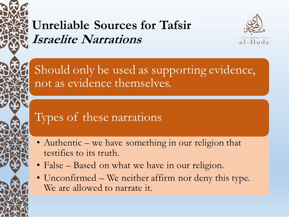 Unreliable Sources for Tafsir Israelite Narrations
