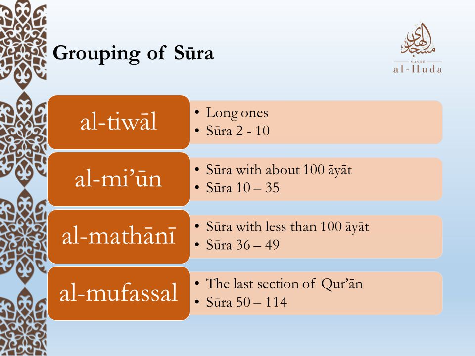 al-tiwāl al-mi'ūn al-mathānī al-mufassal Grouping of Sūra Long ones