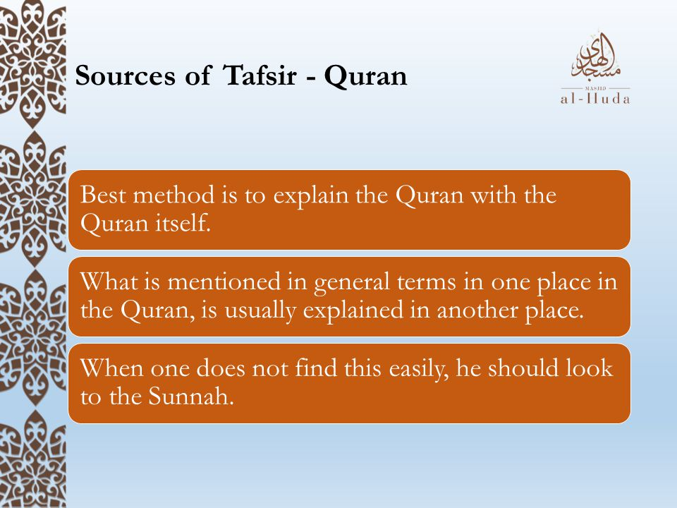 Sources of Tafsir - Quran