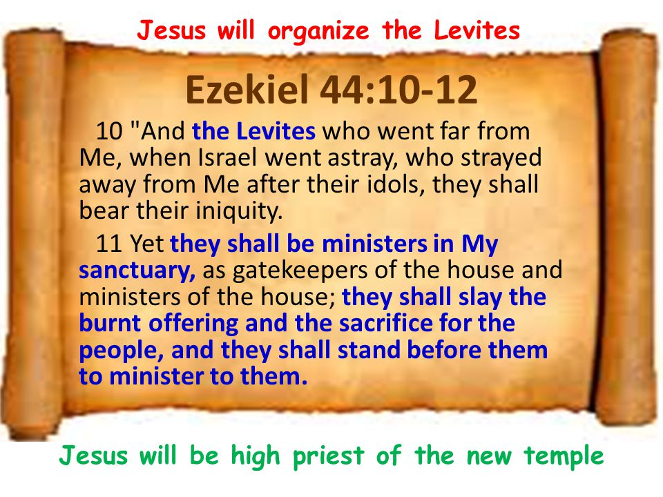 Jesus will organize the Levites