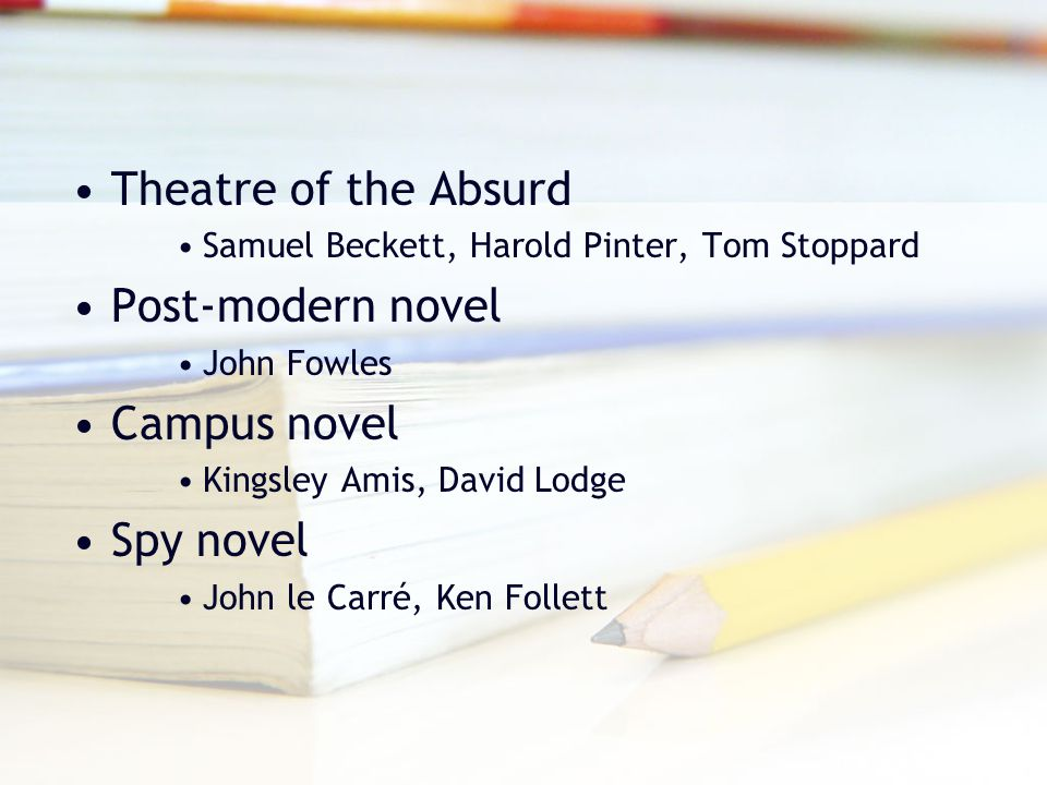 Theatre of the Absurd Post-modern novel Campus novel Spy novel