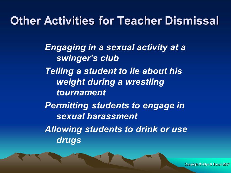 Other Activities for Teacher Dismissal