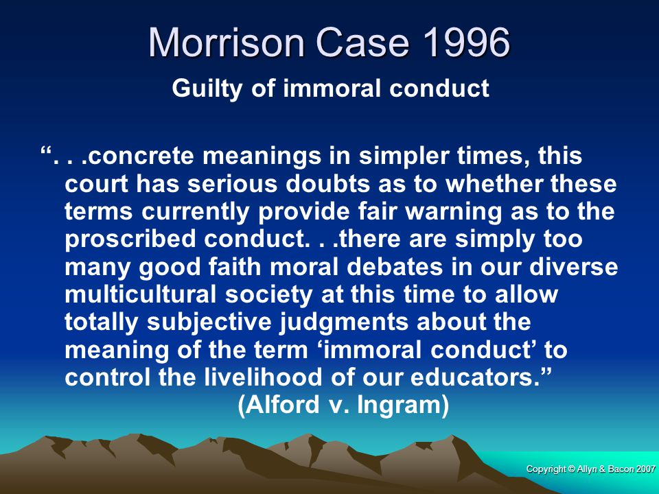 Morrison Case 1996 Guilty of immoral conduct