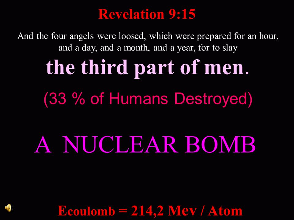A NUCLEAR BOMB the third part of men. (33 % of Humans Destroyed)