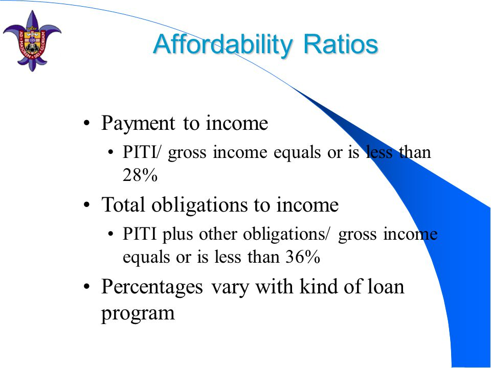 Affordability Ratios Payment to income Total obligations to income