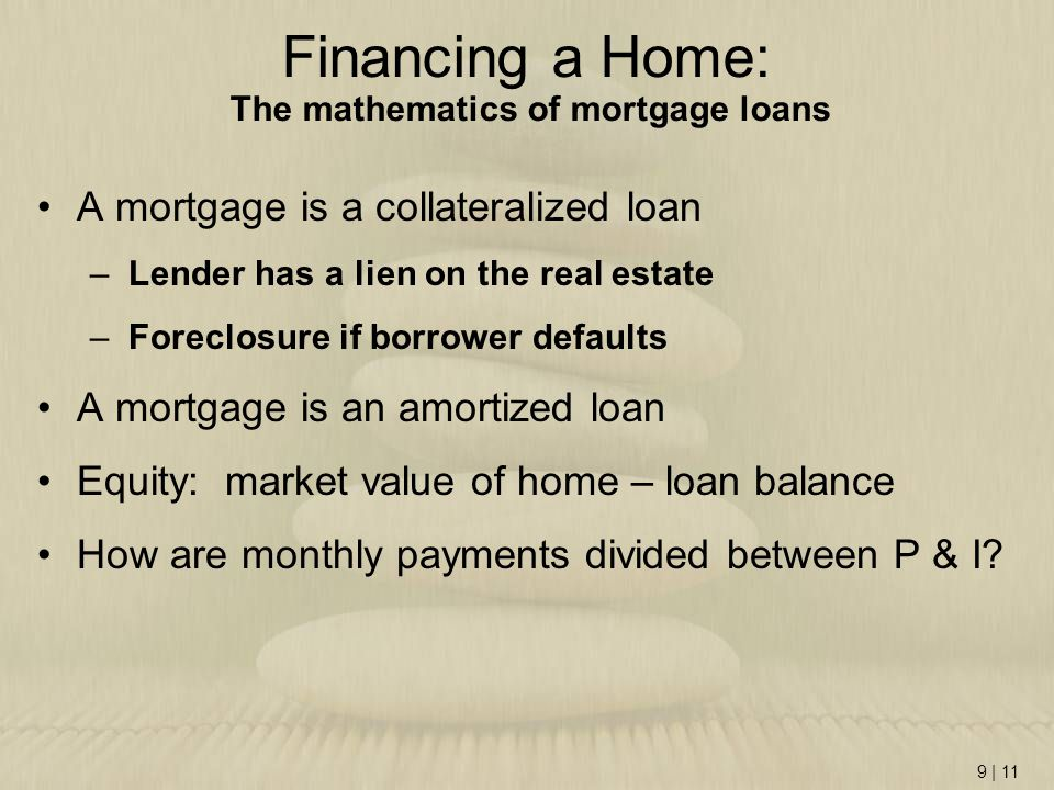 Financing a Home: The mathematics of mortgage loans