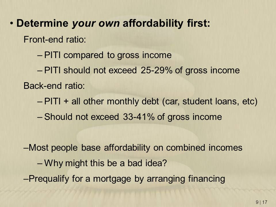 Determine your own affordability first:
