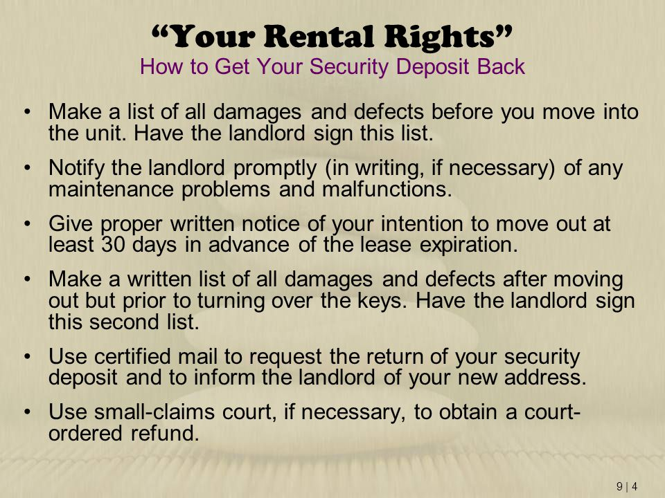 Your Rental Rights How to Get Your Security Deposit Back