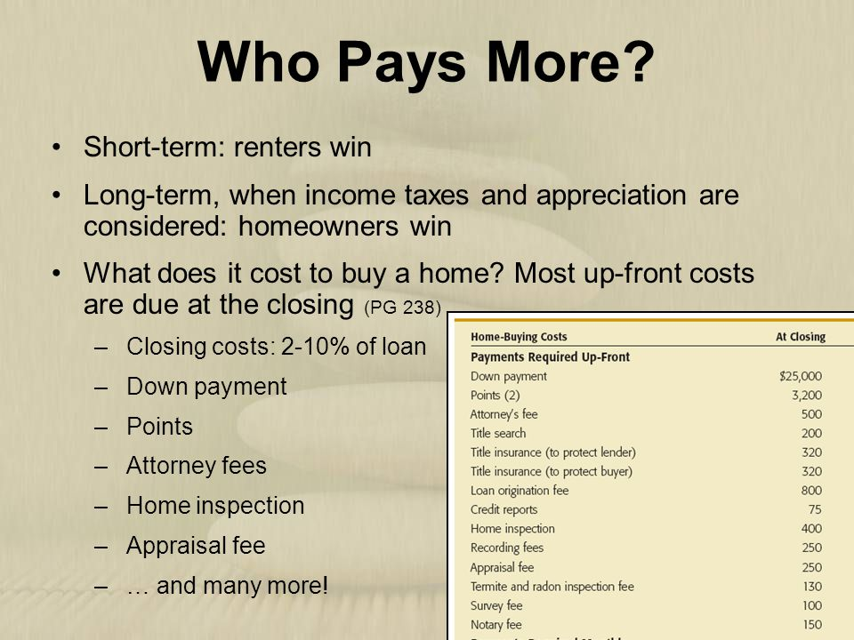 Who Pays More Short-term: renters win
