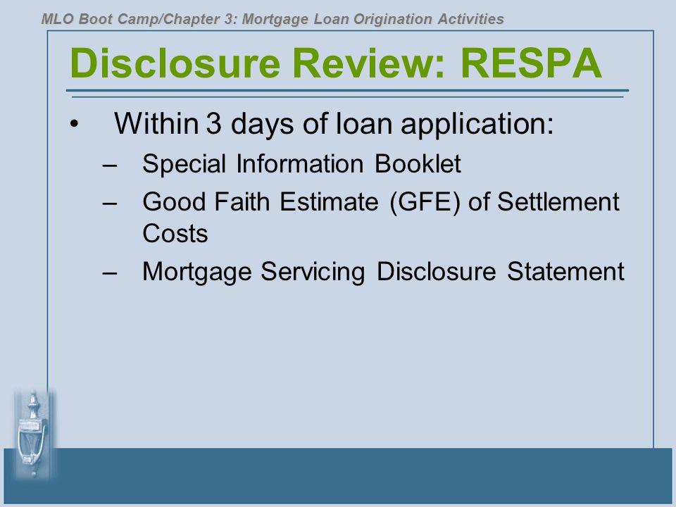 Disclosure Review: RESPA
