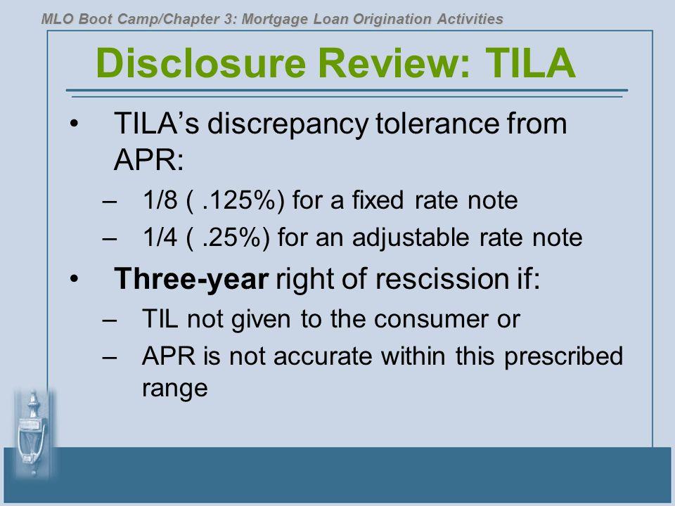 Disclosure Review: TILA