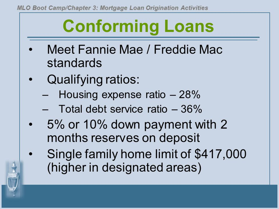 Conforming Loans Meet Fannie Mae / Freddie Mac standards