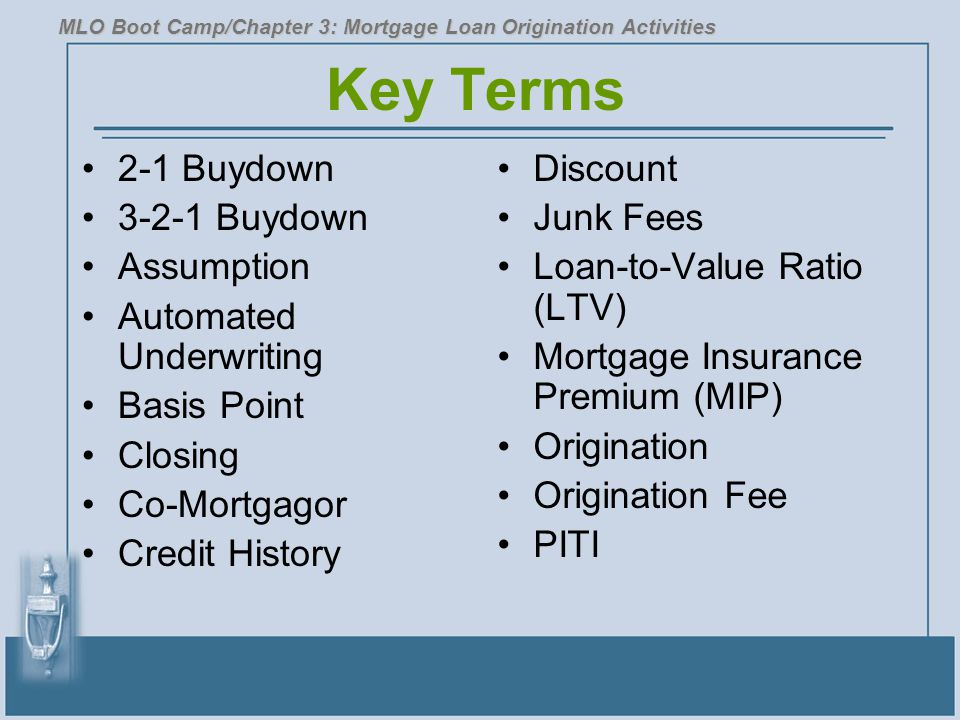 Key Terms 2-1 Buydown 3-2-1 Buydown Assumption Automated Underwriting