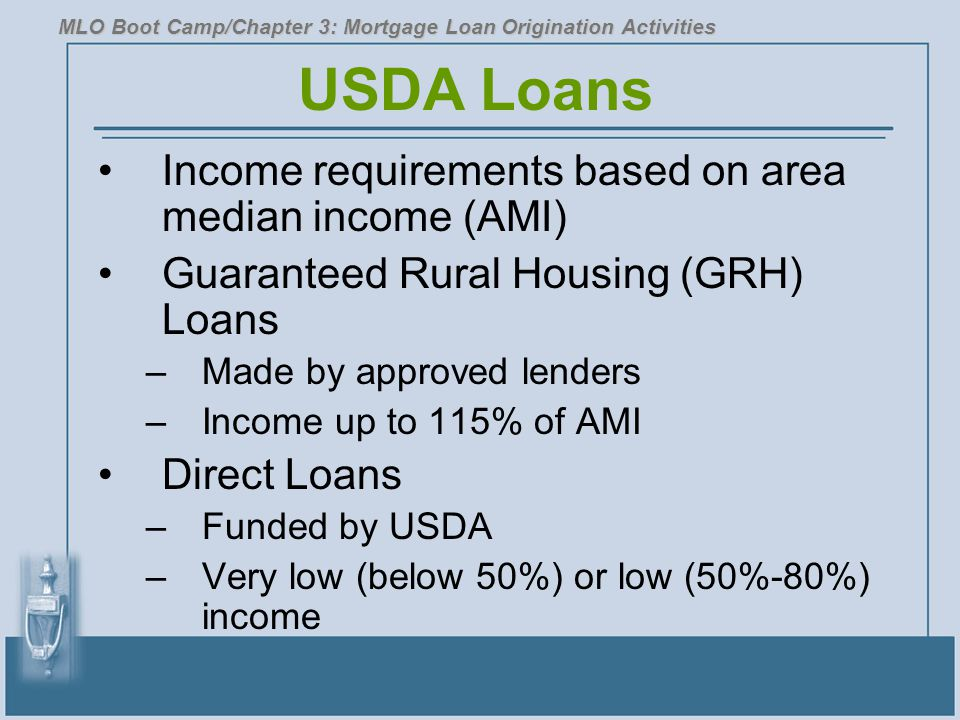 USDA Loans Income requirements based on area median income (AMI)