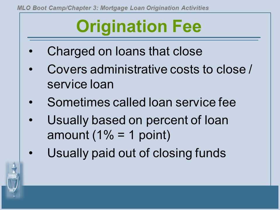 Origination Fee Charged on loans that close