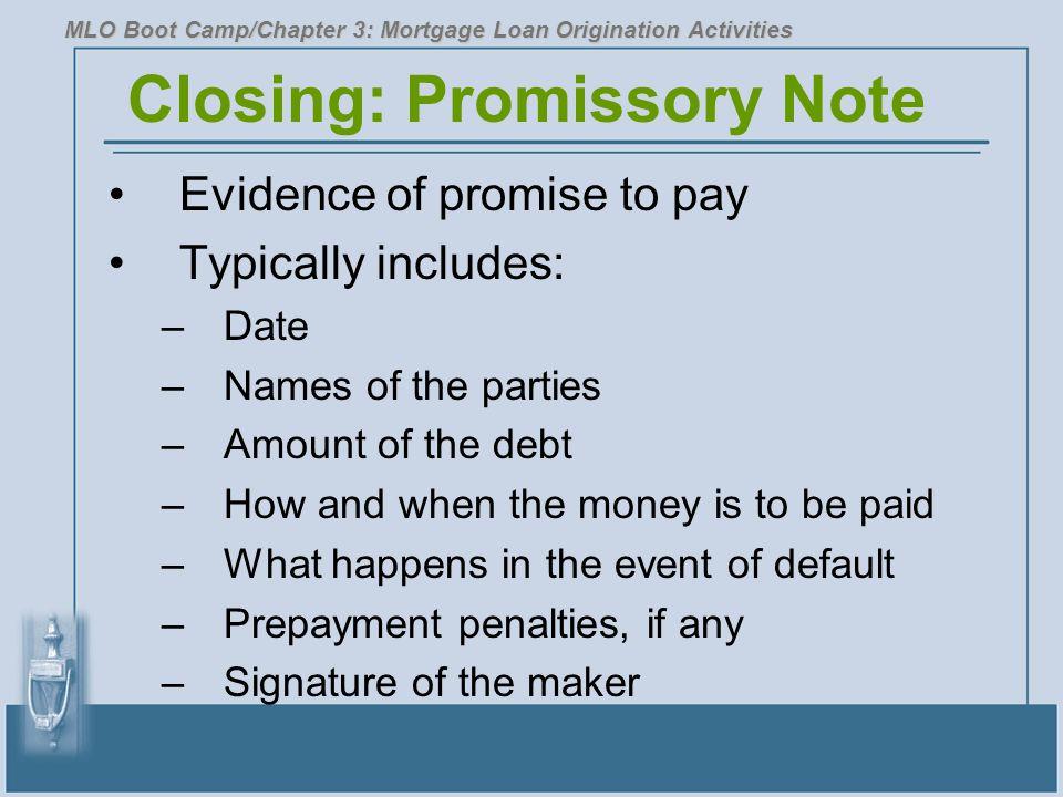 Closing: Promissory Note