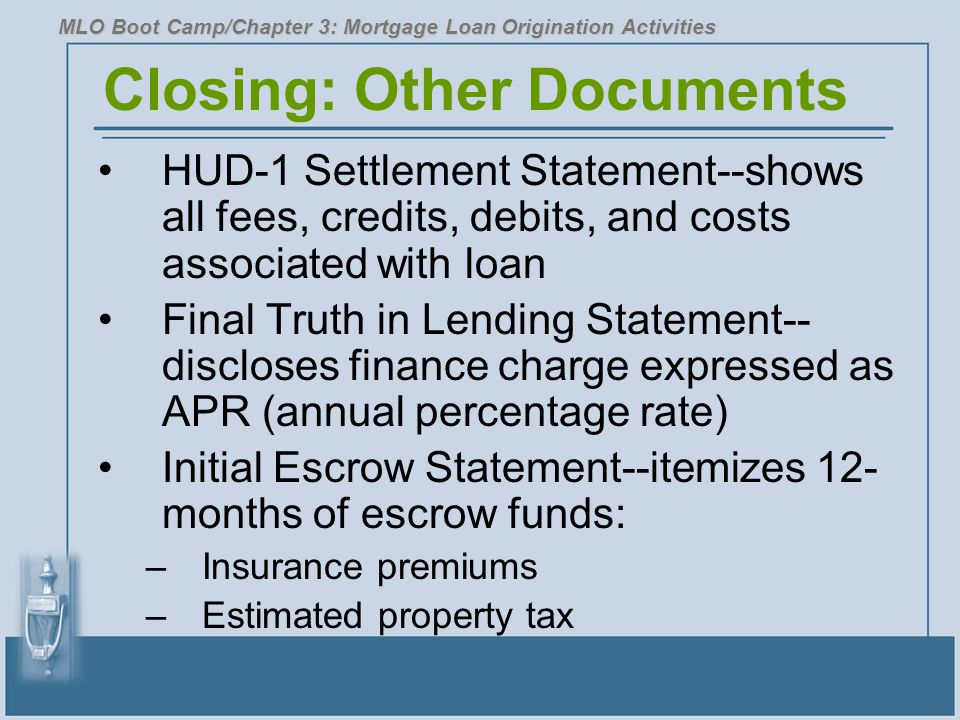 Closing: Other Documents