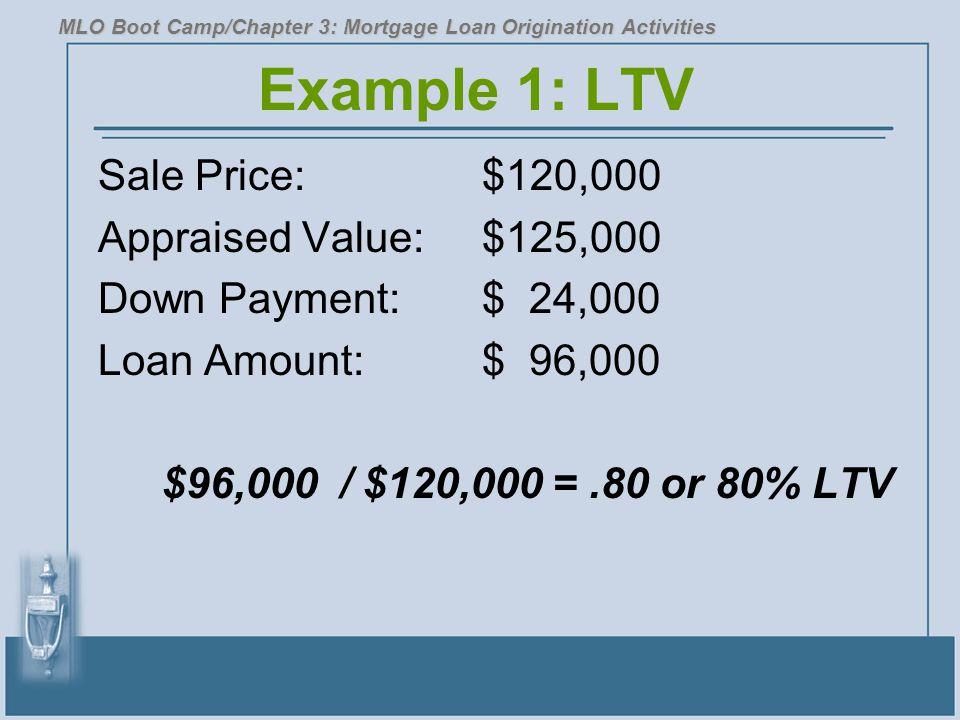 Example 1: LTV Sale Price: $120,000 Appraised Value: $125,000