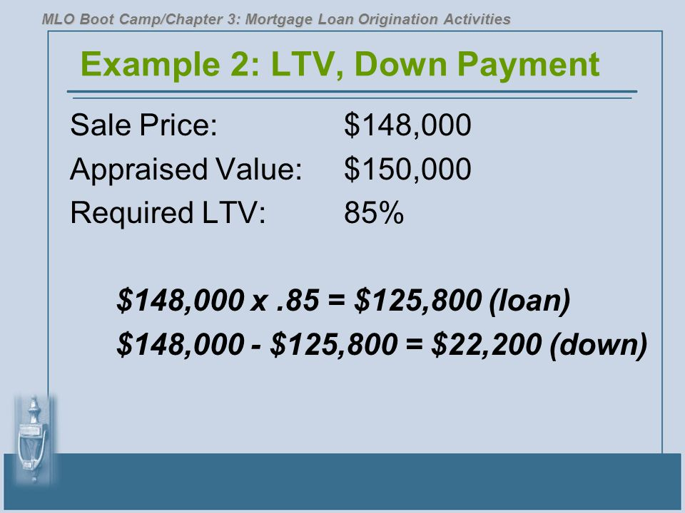 Example 2: LTV, Down Payment