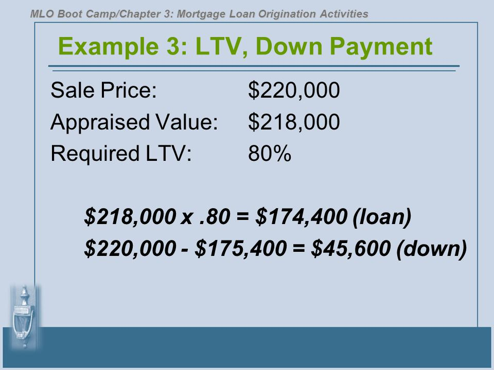 Example 3: LTV, Down Payment