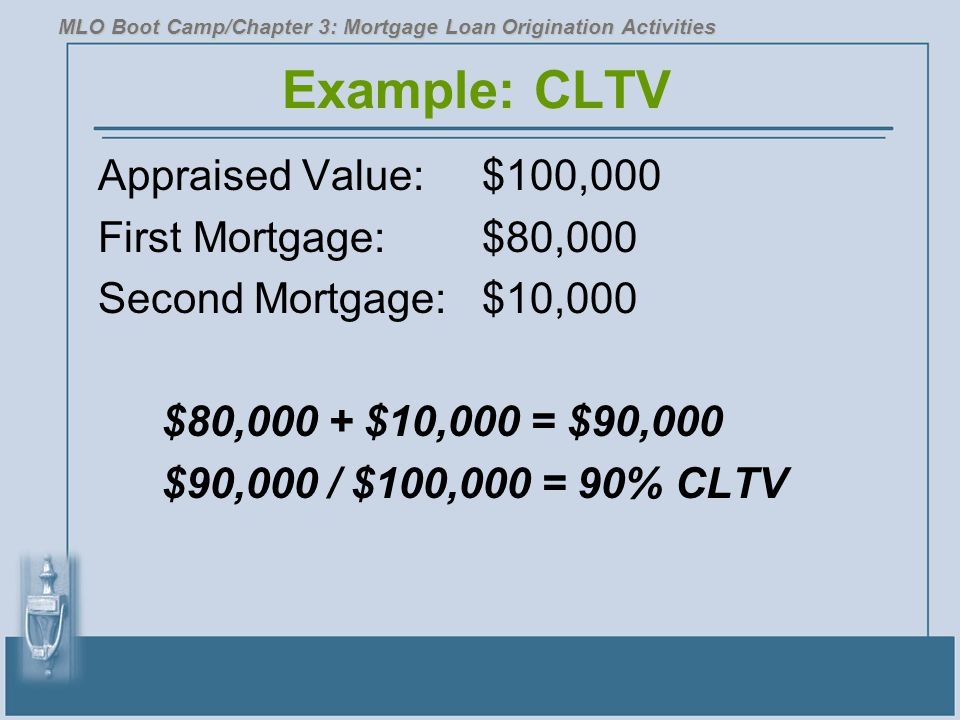 Example: CLTV Appraised Value: $100,000 First Mortgage: $80,000