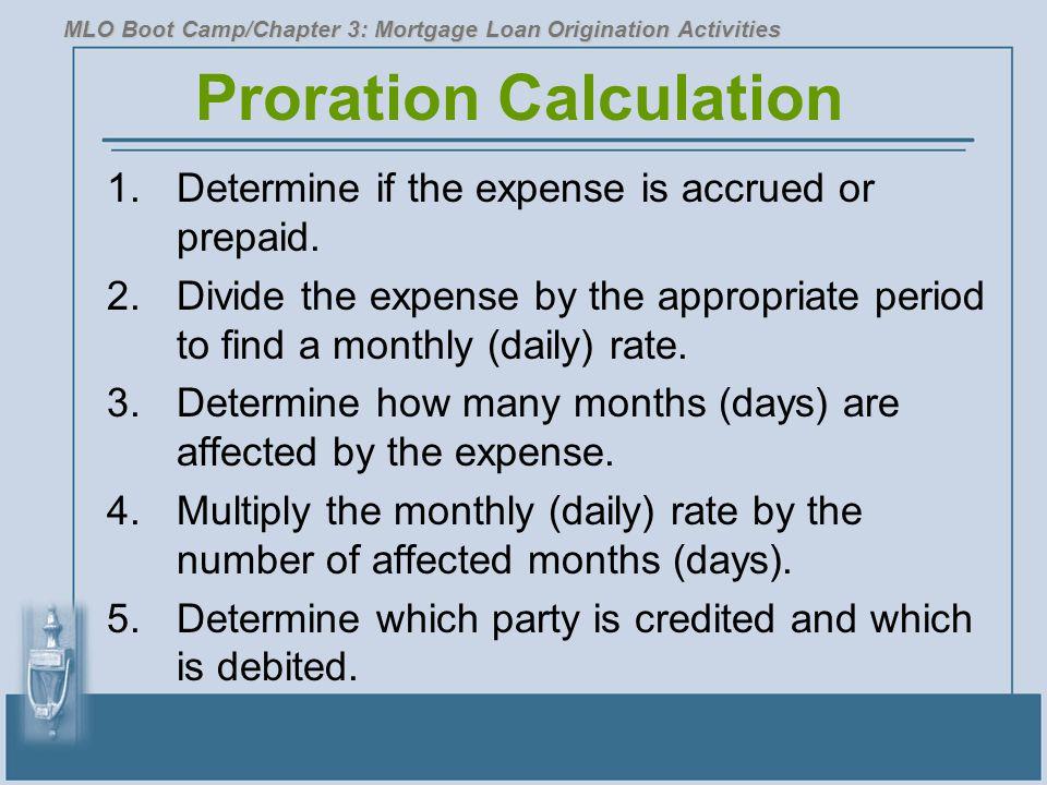 Proration Calculation