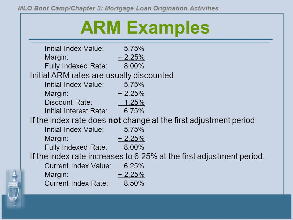 ARM Examples Initial ARM rates are usually discounted: