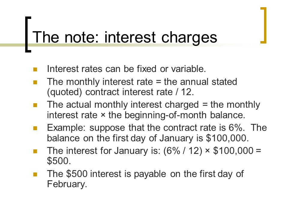 The note: interest charges