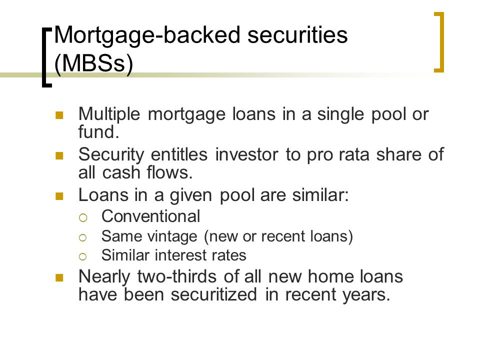Mortgage-backed securities (MBSs)