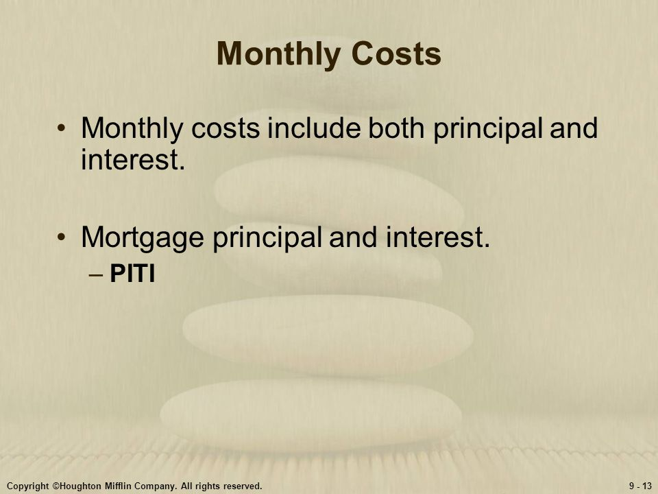Monthly Costs Monthly costs include both principal and interest.