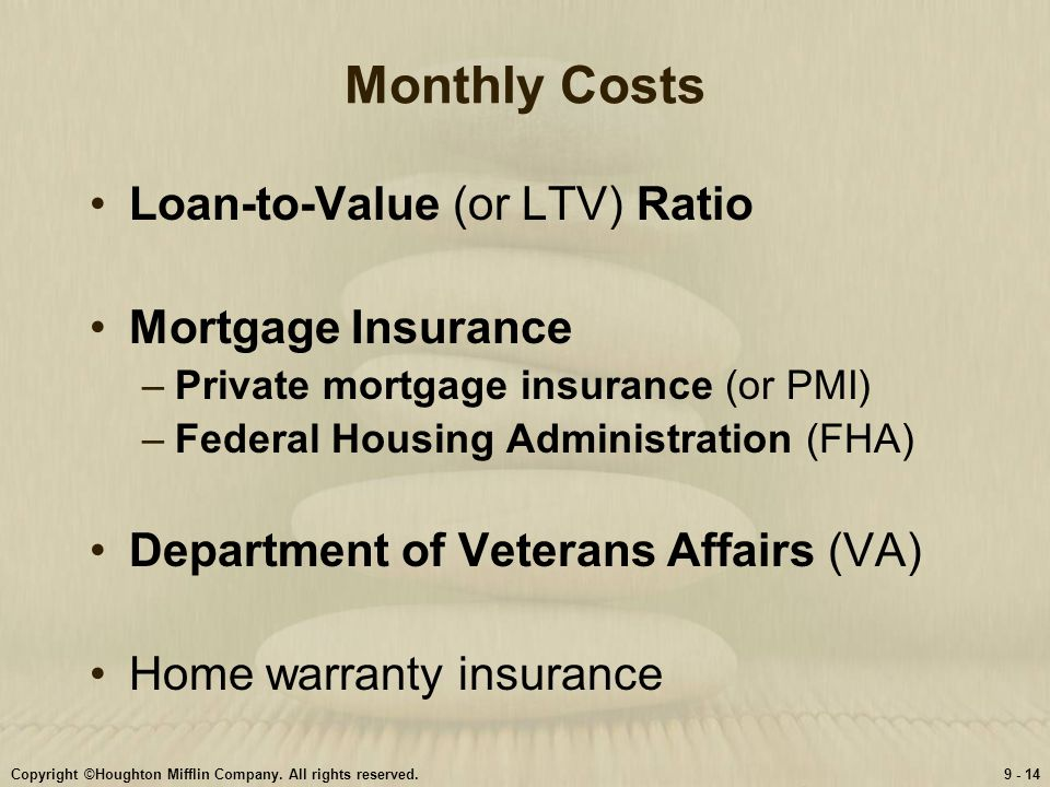Monthly Costs Loan-to-Value (or LTV) Ratio Mortgage Insurance