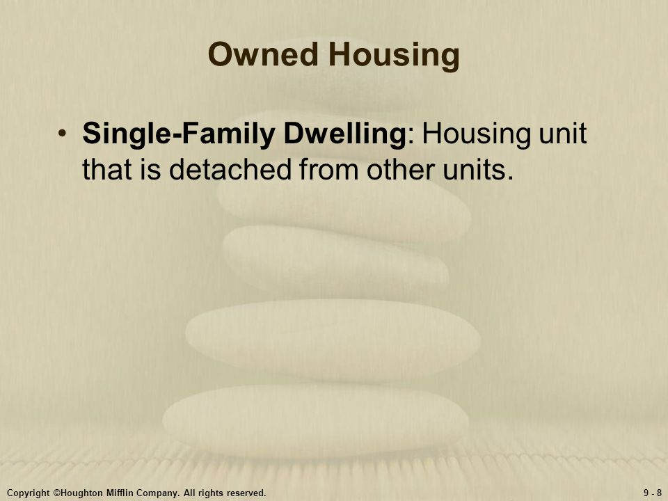 Owned Housing Single-Family Dwelling: Housing unit that is detached from other units.