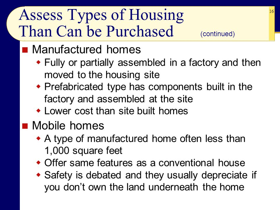 Assess Types of Housing Than Can be Purchased