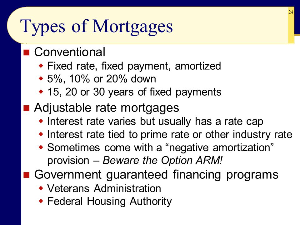 Types of Mortgages Conventional Adjustable rate mortgages