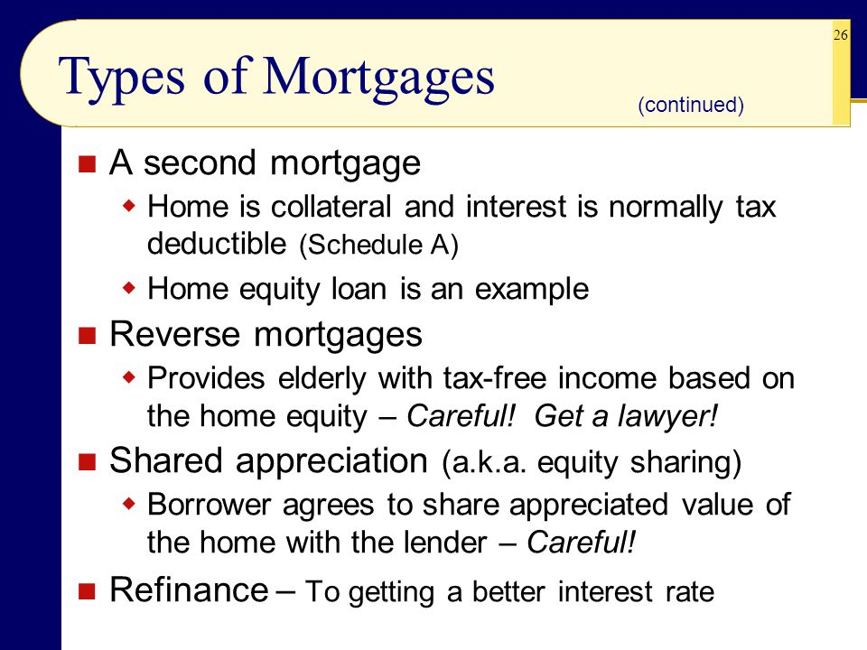 Types of Mortgages A second mortgage Reverse mortgages