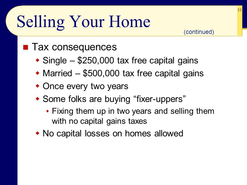 Selling Your Home Tax consequences