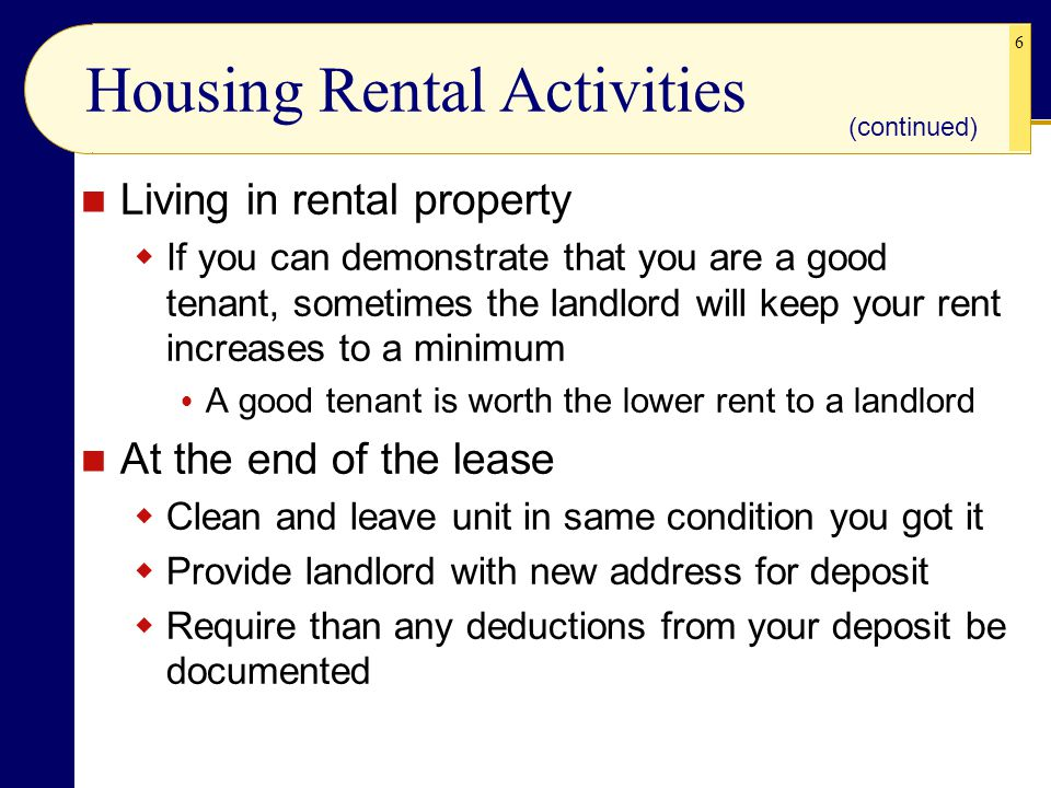 Housing Rental Activities