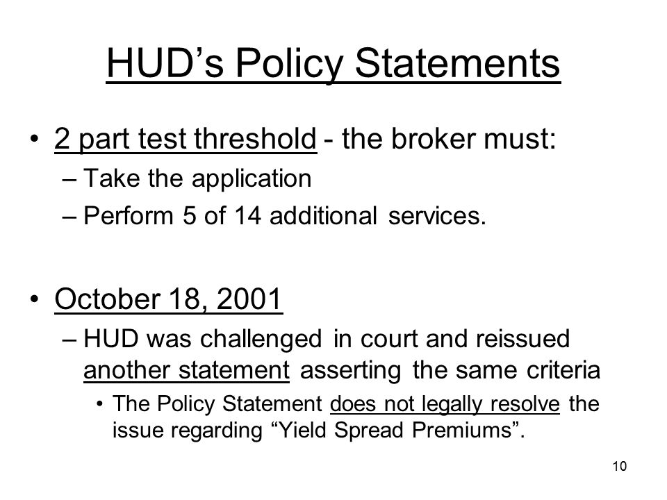 HUD's Policy Statements