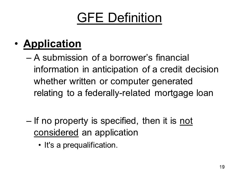 GFE Definition Application
