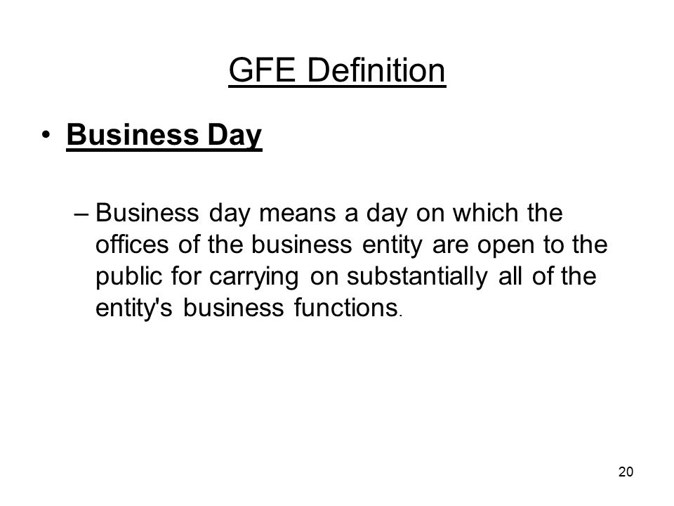 GFE Definition Business Day
