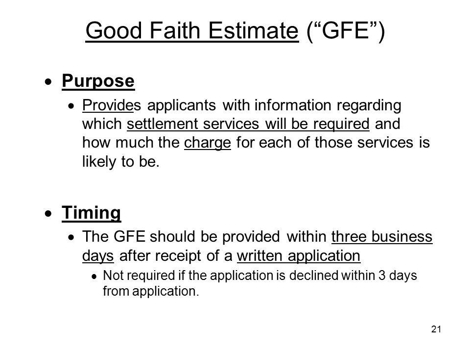 Good Faith Estimate ( GFE )