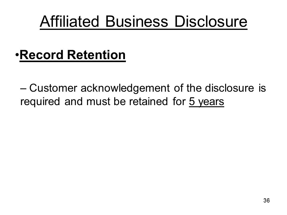 Affiliated Business Disclosure