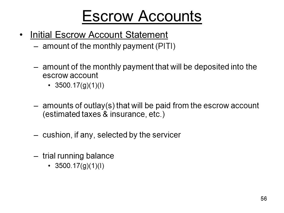 Escrow Accounts Initial Escrow Account Statement