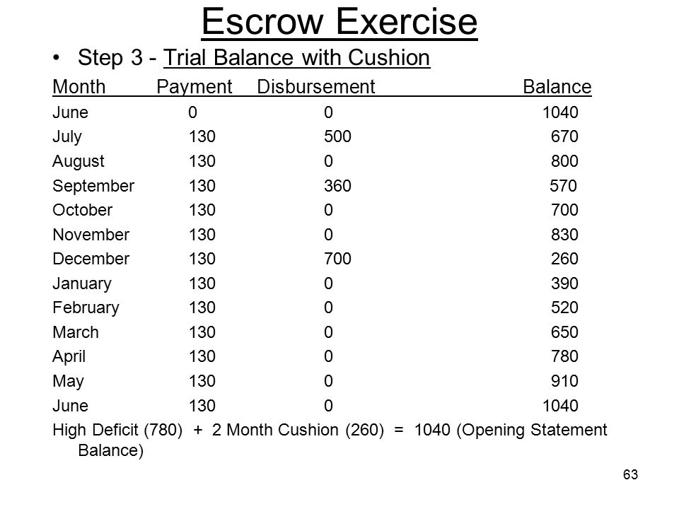Escrow Exercise Step 3 - Trial Balance with Cushion